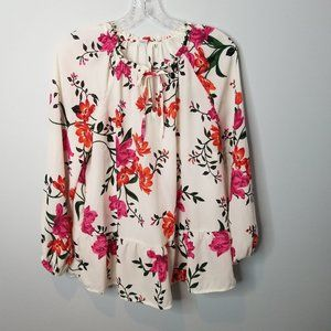 Old Navy Swing Ruffle Hem Floral Blouse Large